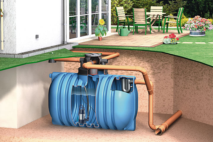 Tank mit Tauchdruckpumpe im Garten.
